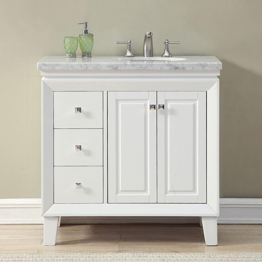6320ww36r 36 Single Sink Vanity Carrera White Marble Top