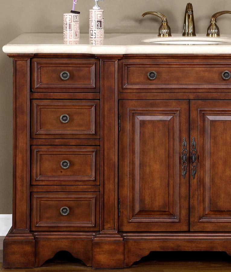 G4044 585 Single Sink Vanity Cream Marfil Marble Top Cabinet