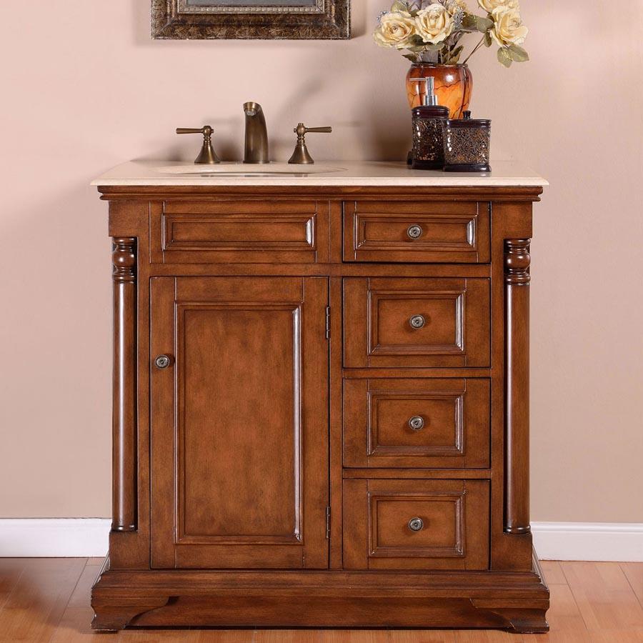 B1278 36 Single Sink Vanity Cream Marfil Marble Top Cabinet