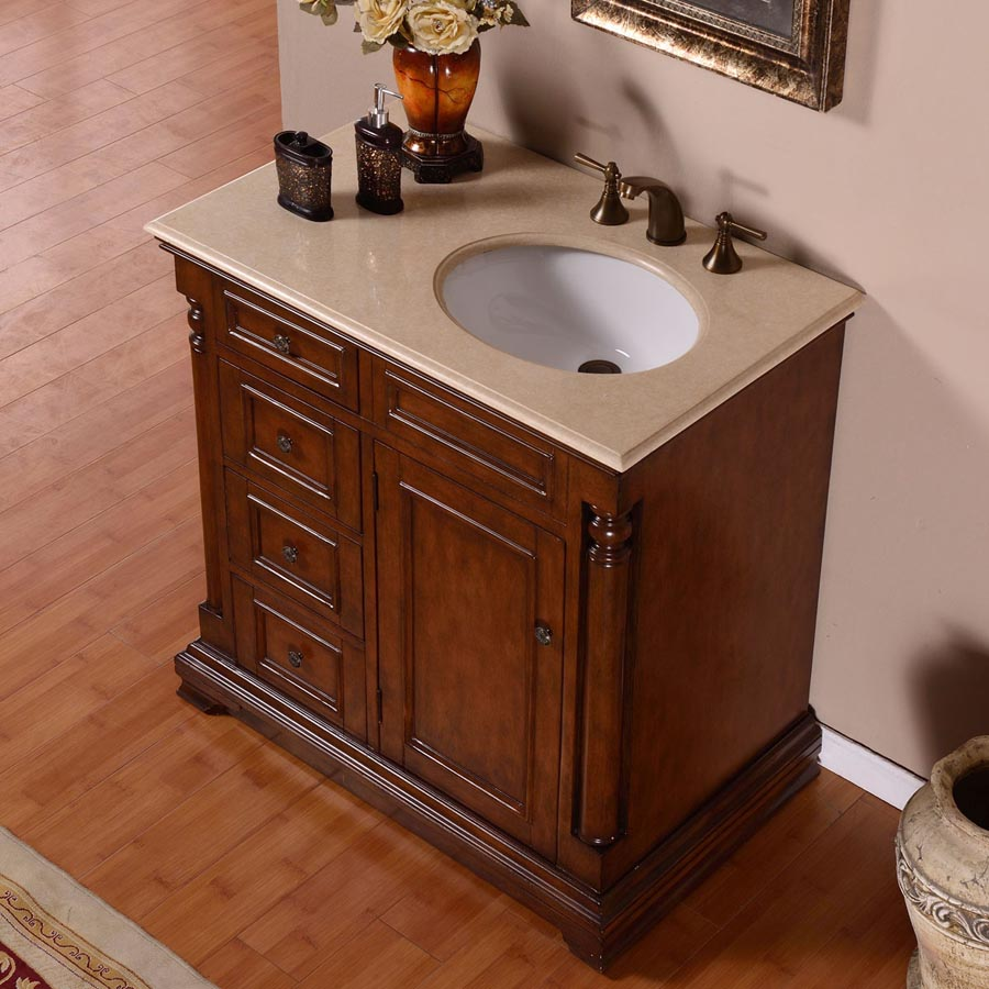 G4036 36 single sink vanity cream marfil marble top cabinet for Local bathroom vanities
