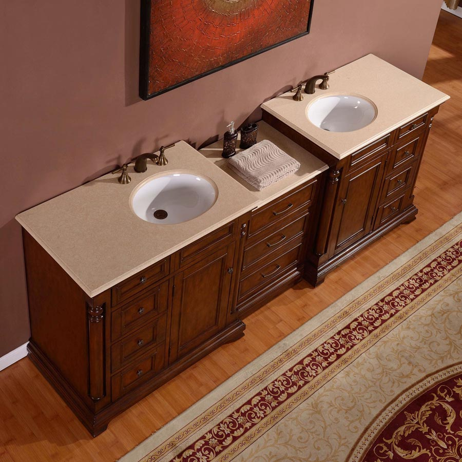 G4072 92 Double Sink Vanity Cream Marfil Marble Top Cabinet