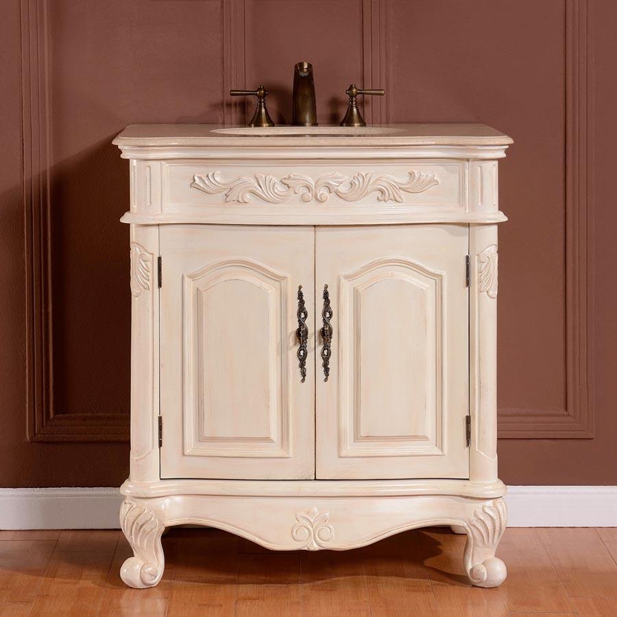 G4051 32 Single Sink Vanity Cream Marfil Marble Top Cabinet